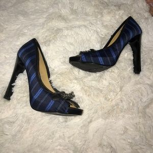 Nine West Navy Blue Stripe Open Toe High Heels